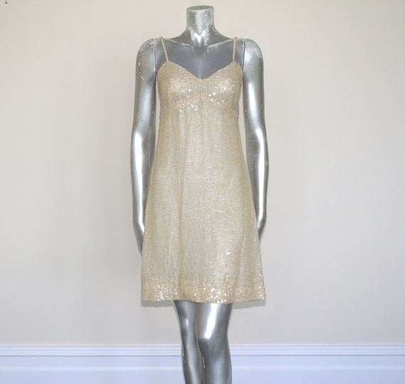 CHANEL SEQUIN DRESS, Chenal Beige Sequin Slip Dres