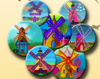 Digital Collage Sheet 1.5 1.25 earrings Combo of 5 sizes 1 Instant Download #267. etc FUNKY WINDMILLS 25mm /& 30mm  for pendants