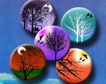 EVENING SKIES Digital Collage Sheet 1 inch round images for glass and resin pendants, bottle caps, round bezel trays. Instant Download #249.