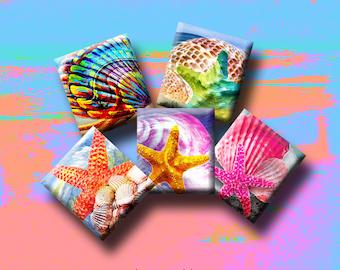 scrap-booking Instant Download #207. Pendants earrings RETRO FUNKY FLOWERS Digital Collage Sheet .75 x .83 inch Scrabble Tile Images