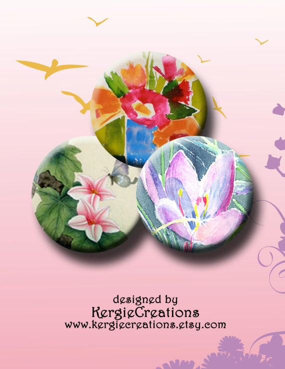 Spring Flowers Digital Collage Sheet 30x1 Inch Round Images For Bottle Caps Pendants Round Bezels Etc Instant Download 122