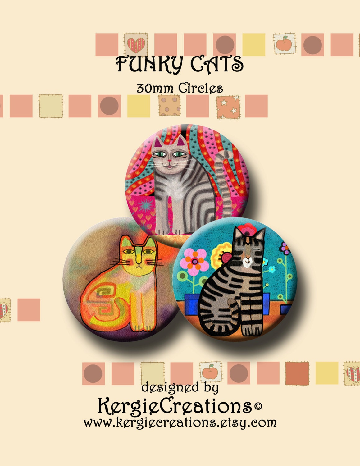 30 Funky And Trendy Nail Art Designs For 2014: FUNKY CATS Digital Collage Sheet 30mm Round Images For