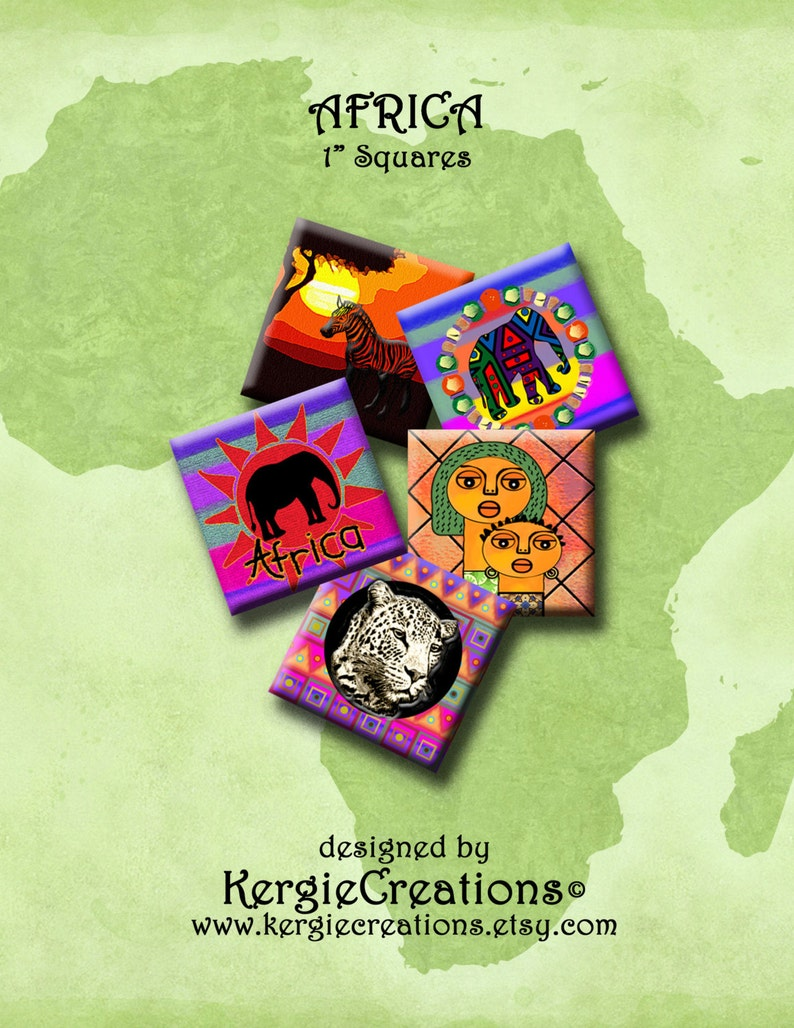 Africa Digital Collage Sheet 1 Inch Square Images For Pendants Earrings Decoupage Magnets Etc Instant Download 236