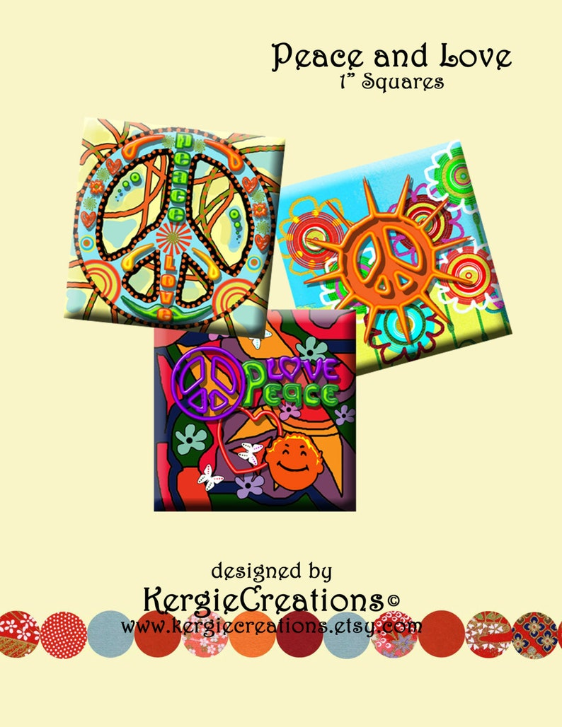 Peace And Love Digital Collage Sheet 1 Inch Square Images For Pendants Earrings Decoupage Scrapbooking Etc Instant Download 209