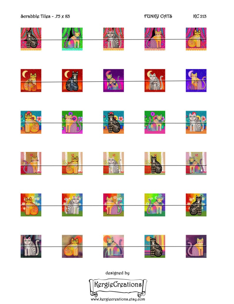Pendants Digital Collage Sheet .75 x .83 inch Scrabble Tile Images Instant Download #213. magnets scrap-booking FUNKY CATS earrings