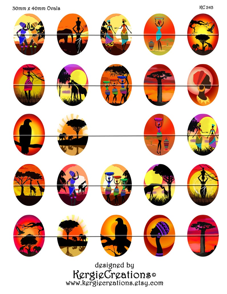 AFRICAN SUNSETS Instant Download #243. 30mm x 40mm Ovals for pendants decoupage Digital Collage Sheet magnets scrap-booking