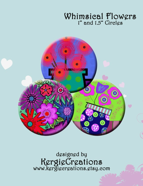 Whimsical Flowers Digital Collage Sheet 1 1 5 Inch Round Images For Bottle Caps Pendants Round Bezels Etc Instant Download 203