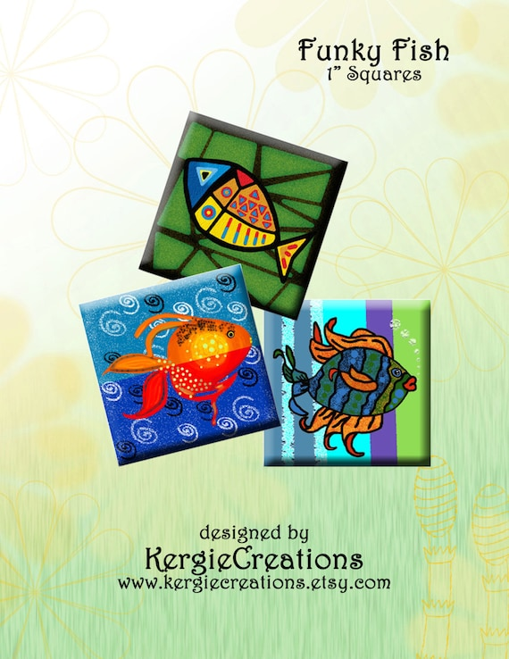 Funky Fish Digital Collage Sheet 1 Inch Square Images For Pendants Magnets Etc Instant Download 218