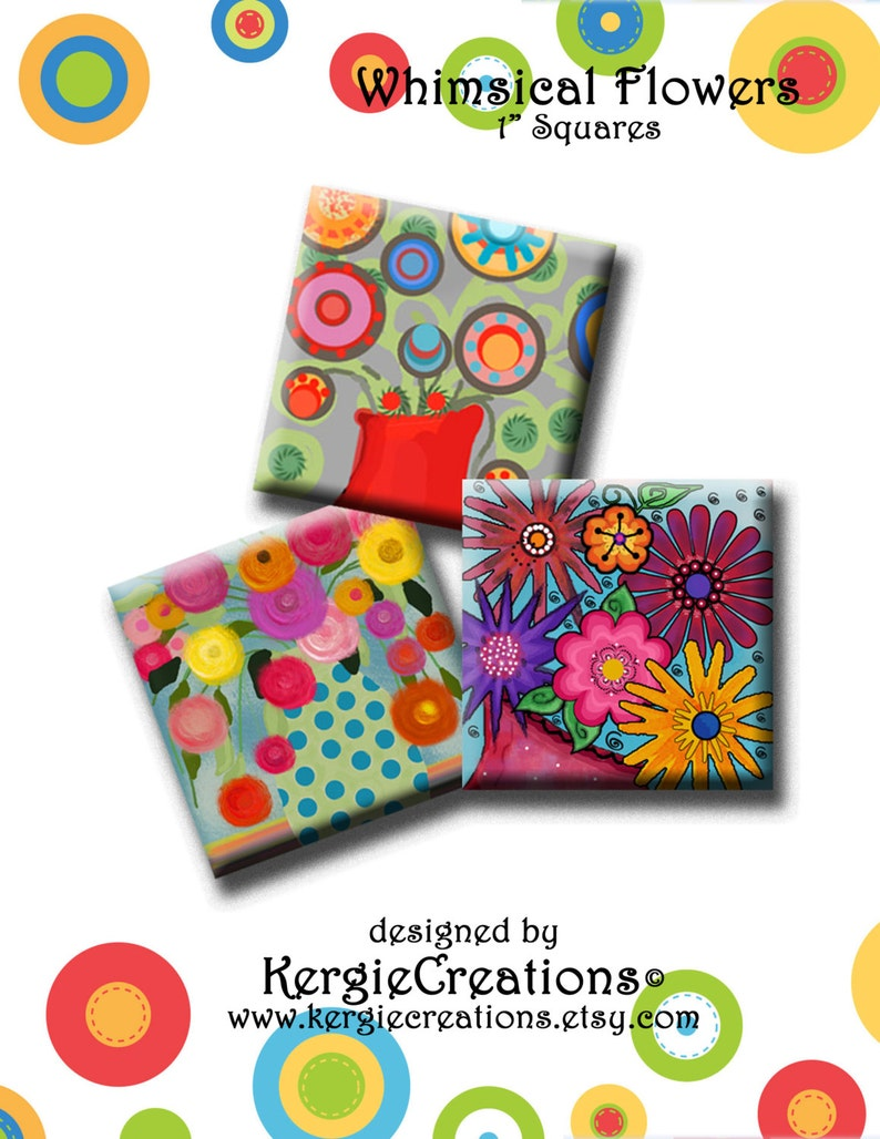 Whimsical Flowers Digital Collage Sheet 1 Inch Square Images For Earrings Pendants Round Bezels Etc Instant Download 203