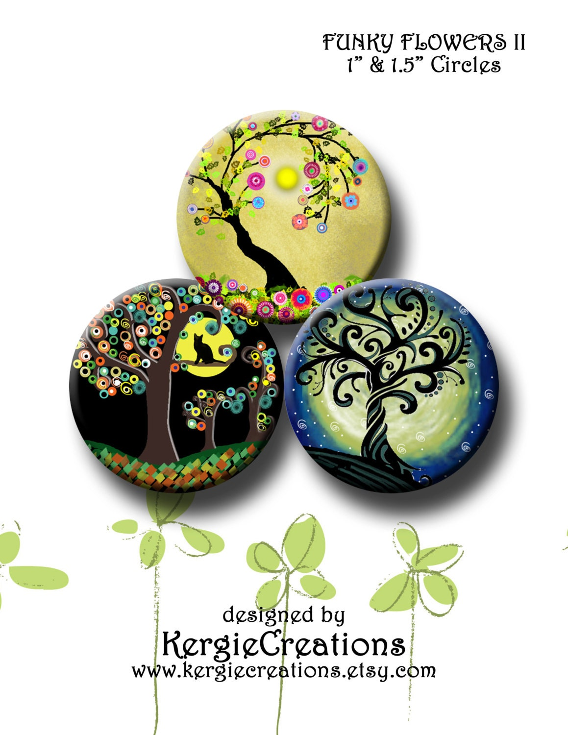 30 Funky And Trendy Nail Art Designs For 2014: FUNKY TREES II 30 X 1 Inch & 1.5 Inch Round Images For