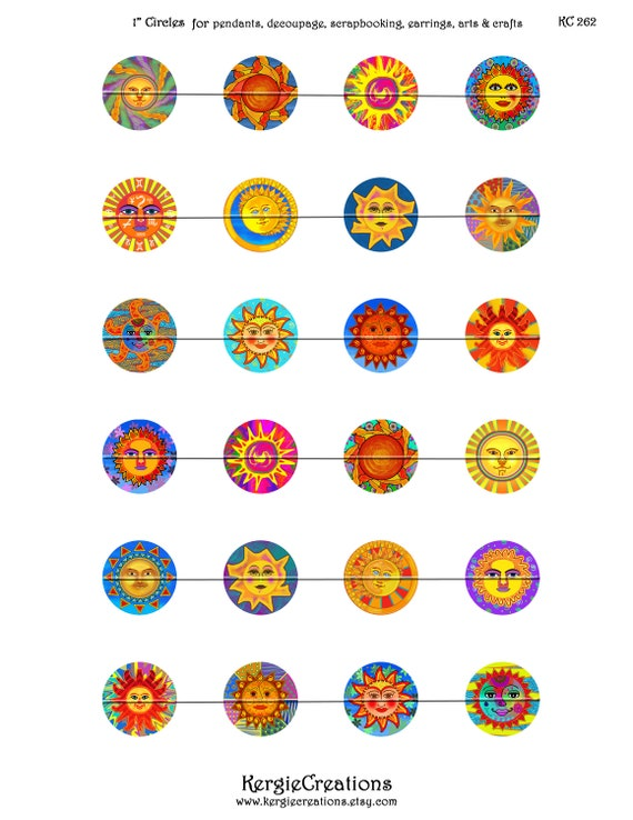 Instant Download #203. etc Digital Collage Sheet 1 /&1.5 inch round images for bottle caps round bezels WHIMSICAL FLOWERS pendants