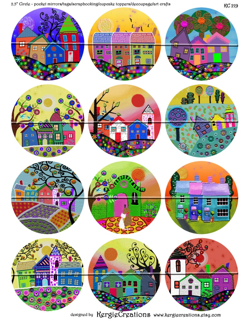 2.5 inch Digital Collage Sheet for Pocket Mirrors Magnets Printable Peace Signs-Instant Download #215. FUNKY HOUSES Paper Weights