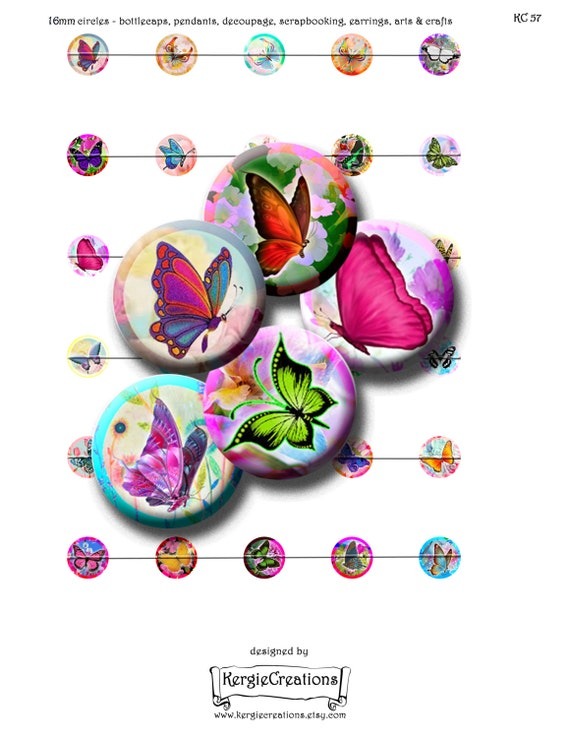 BUTTERFLY CONCERTO  Digital Collage Sheet  1 /& 1.5 inch round images for pendants etc magnets bottle caps Instant Download #26.