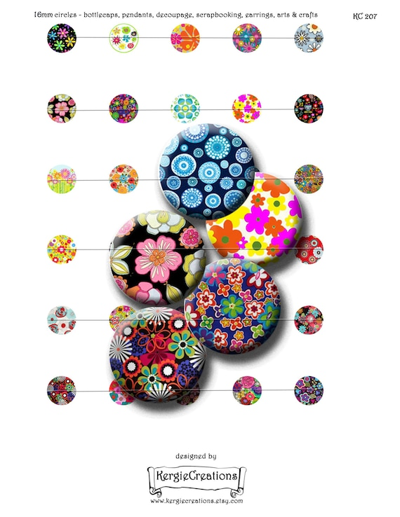 30 Funky And Trendy Nail Art Designs For 2014: RETRO FUNKY FLOWERS 30 X 16mm Round Images For Pendants
