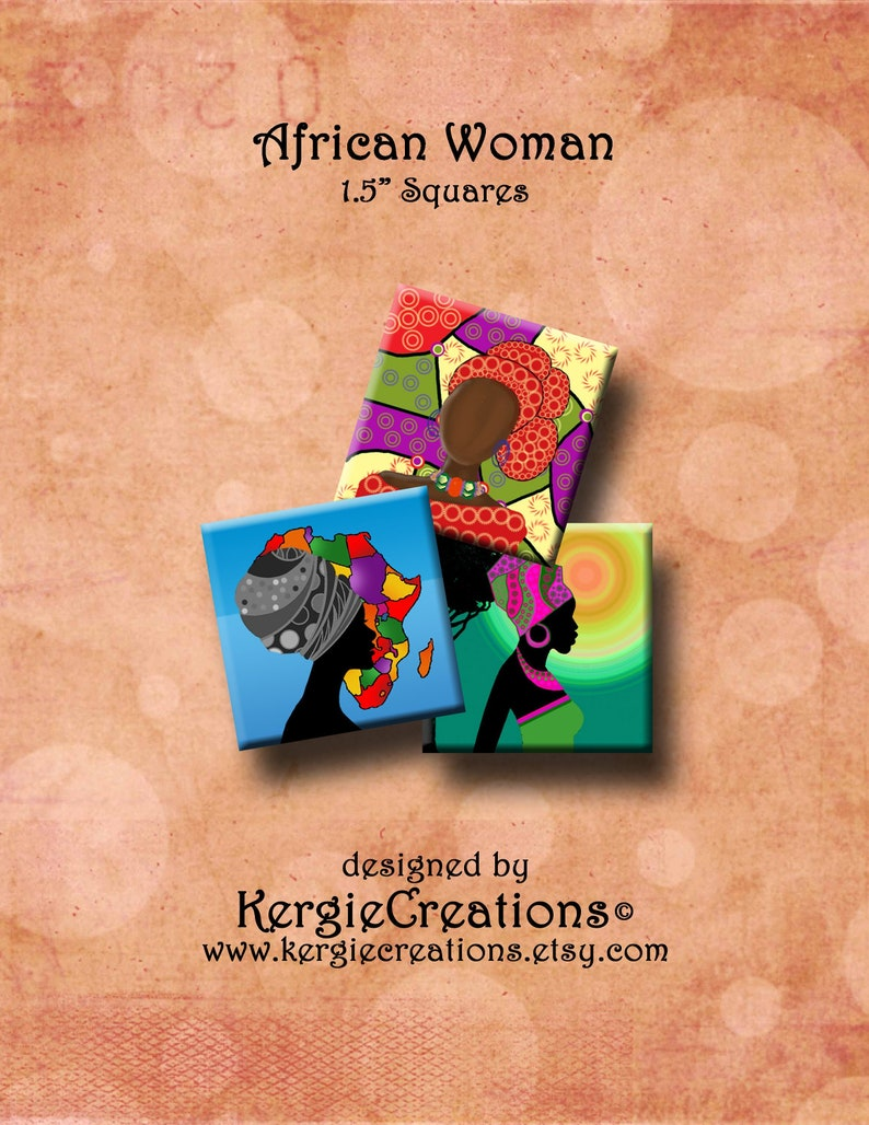 African Women Digital Collage Sheet 1 5 Inch Square Images For Pendants Earrings Decoupage Magnets Etc Instant Download 257