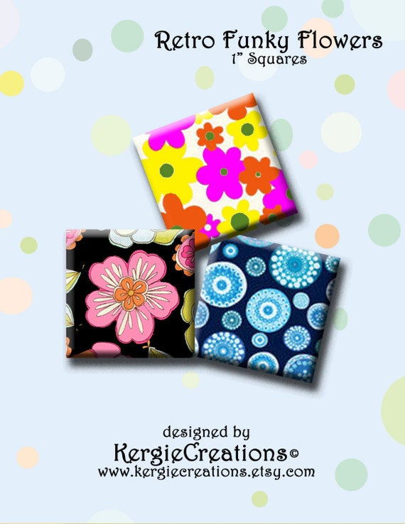 30 Funky And Trendy Nail Art Designs For 2014: RETRO FUNKY FLOWERS 30 X 1 Quadratische Bilder Für