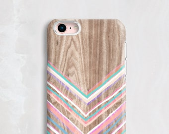 Chevron iPhone 8 Case Wood, Chevron iPhone Case Wood, iPhone 7 Case Wood, Pretty iPhone Cases, Stripey iPhone Case – NOT Real Wood PC01