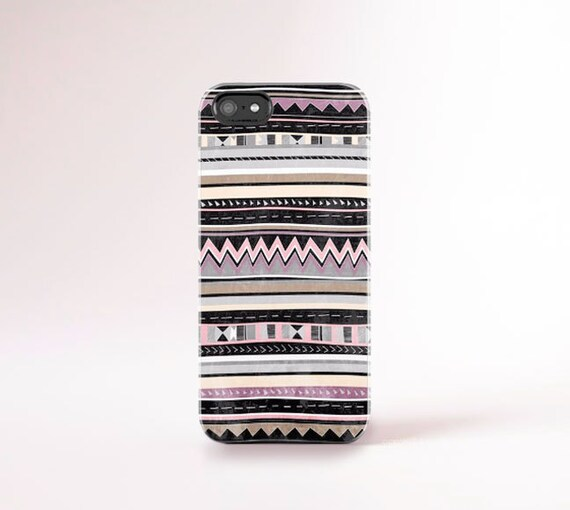 Summer Tech Accessories, Summer Gifts, Tribal iPhone Case, Aztec iPhone Case Black Beige, Pink Grey White iPhone Case Stripey iPhone Case