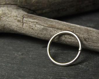 P L A I N - H O O P // Handmade Eco Sterling Silver 925 Continuous Piercing // Choose Gauge 22g 20g 18g 16g 14g