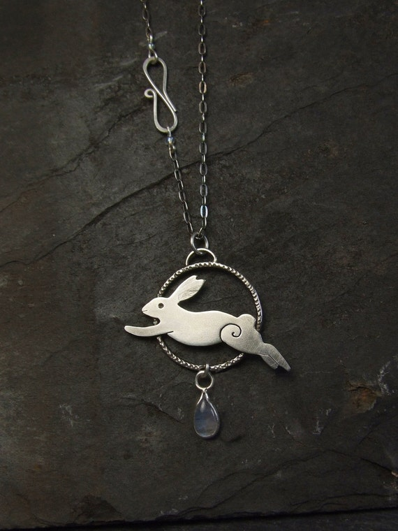 Sterling Silver Pendant Leaping Hare