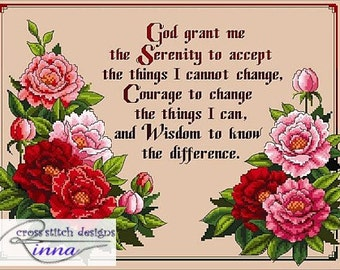 Peonies and Serenity Prayer Sampler -A Beautiful Floral design in Cross Stitch-PDF Pattern