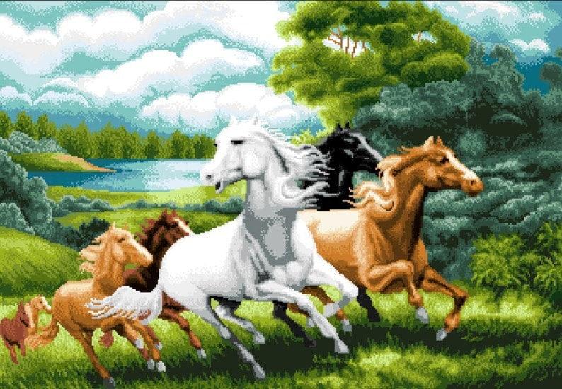 Horses Wild And Free Cross Stitch PDF Pattern