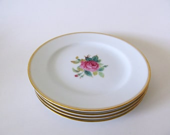 Four Vintage Noritake Sharon Bread and Butter Plates, 3057, Japan, Rose Pattern China, Gold Trim