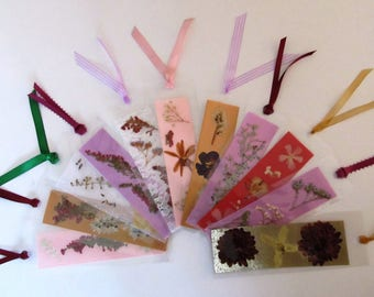 Dry flower bookmark etsy three victorian dried pressed flower laminated bookmarks ribbons gift party or shower favor mightylinksfo