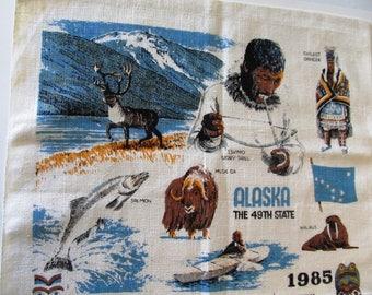 1985 Alaska Linen Tea Towel Calendar, Vintage
