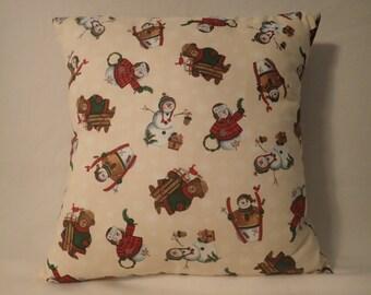 Pillow Cover, Decorative Christmas Pillow Cover, Winter Scene Pillow Cover, 16 x 16 Pillow Cover, Holiday Pillow Cover, Throw Pillow Cover