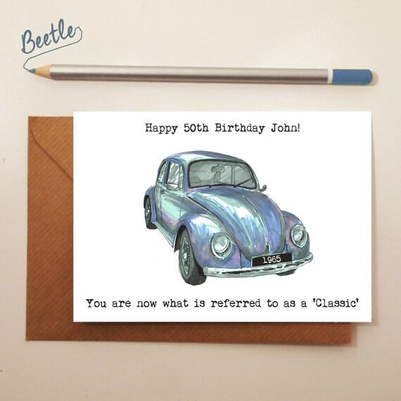 Classic Car Birthday Card Sketch Lover