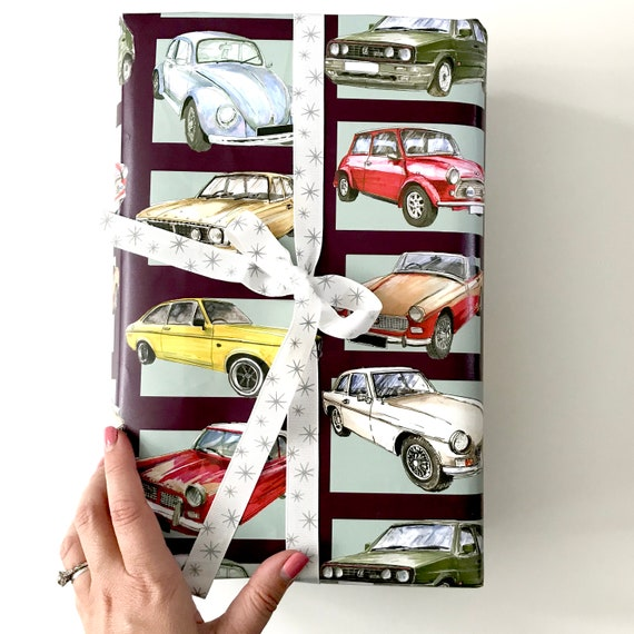Classic Car Birthday Card And Wrapping Paper Set