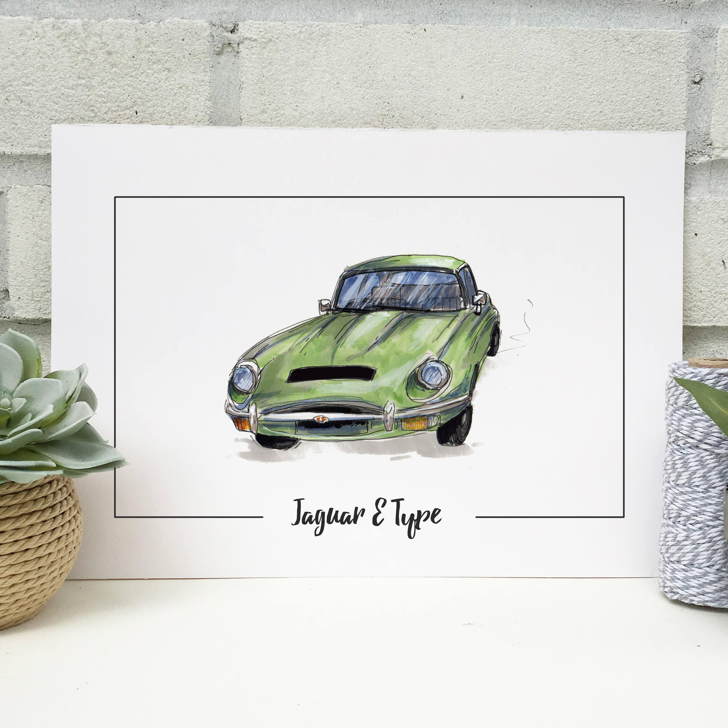 Personalised Jaguar E Type Classic Car Print Hand Drawn Etsy