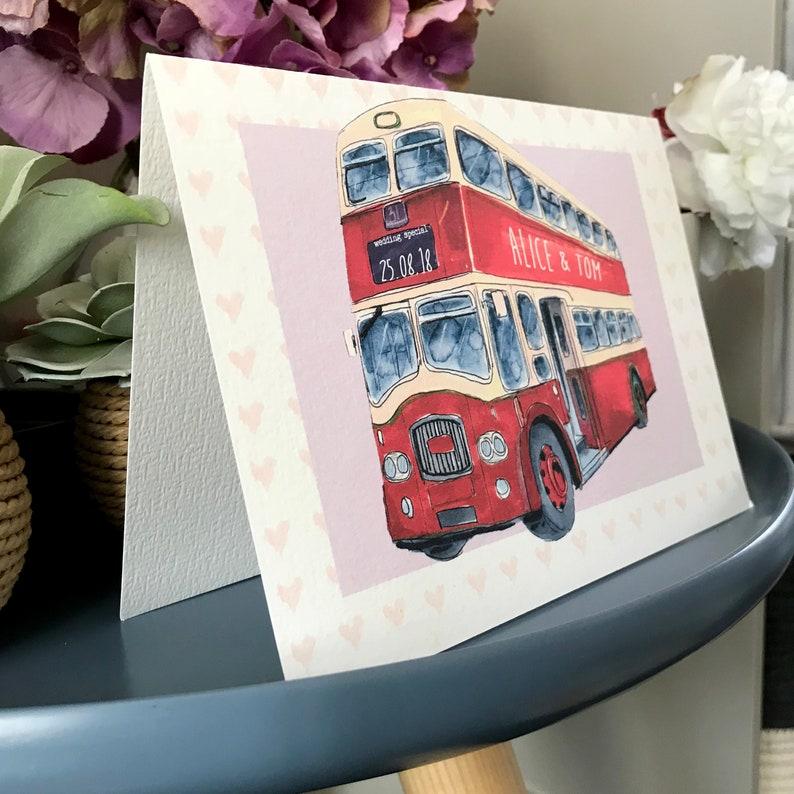 Personalised Wedding Bus Congratulations Card Wedding Bus Wedding Card Wedding Day Card
