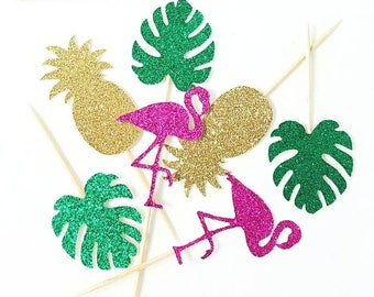 Tropical Party - Tropical Party Toppers, Jungle Toppers, Jungle Cupcake Toppers, Jungle Party Decor, Flamingo Party, Flamingo Cupcake Topper