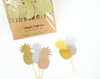 Pineapple Cupcake Toppers - Pineapple Toppers (Set of 12), Pineapple Party, Tropical Party Decor, Aloha Party, Flamingo Party, Dole Whip