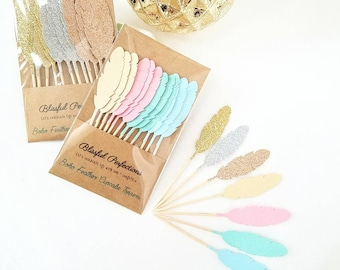 Boho Party - Feather Cupcake Toppers, Feather Toppers, Boho Party Decorations, Boho Toppers, Wild One Birthday, Boho Birthday