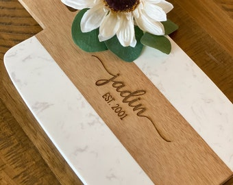 Personalized Marble Cheese Board - Mothers Day Gift - Custom Cutting Board with Handle - Charcuterie Board - Serving Tray - Wedding Gift