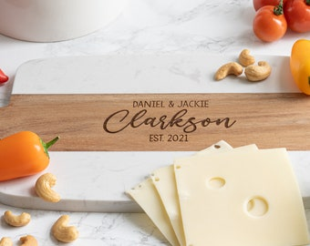 Personalized Marble Cheese Board - Engraved Serving Board - Personalized Gift - Charcuterie Board - Wedding Gift - Engagement – Housewarming