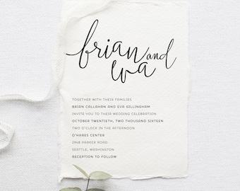 Minimalist Wedding Invitation Set - Printable, Custom, DIY, Deckled, Chic, Rustic, Modern Invite, Simple (Wedding Design #58)
