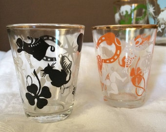 Four super kitsch decorated shot glasses 60s