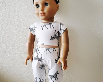 Pants,T-Shirt 18 in Doll Clothes Fits American Girl Zebra Jogging Suit ~Hoodie