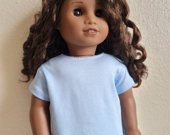 Light Blue Oversized Tee for 18 inch dolls  and Bitty Baby by The Glam Doll