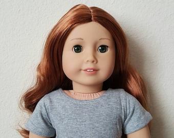 Grey Cropped tshirt for 18 inch dolls by The Glam Doll