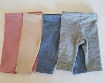 Capri Leggings for 18 inch dolls by The Glam Doll- Dusty Pink, Blue, Grey, Flesh, Black