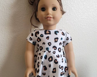 White and Tan Animal Print Skater Dress for 18 inch dolls by The Glam Doll