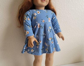 Blue floral ribbed knit Skater Dress for 18 inch dolls by The Glam Doll