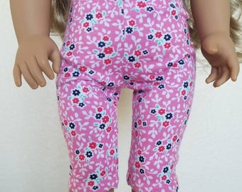 Pink and White Floral Capri Leggings for 18 inch dolls by The Glam Doll