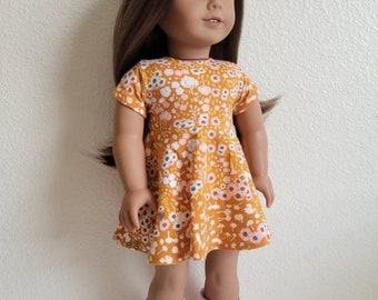 Sienna Floral Skater Dress for 18 inch dolls by The Glam Doll