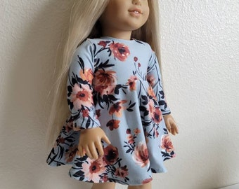 Light Blue and Rust Floral Skaywr Dress for 18 inch dolls by The Glam Doll